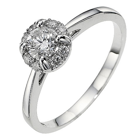 18ct white gold half carat diamond solitaire halo ring