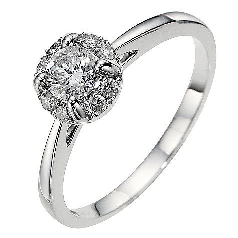 18ct white gold half carat diamond solitaire halo ring