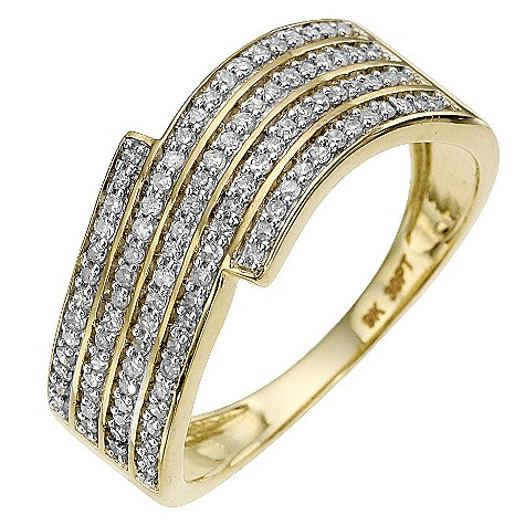 9ct yellow gold 0.30 carat diamond wave ring