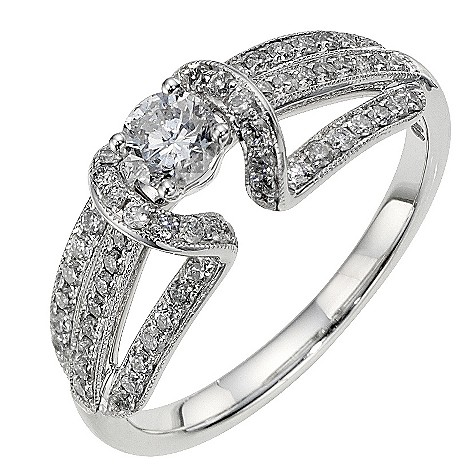 18ct white gold 1/3 carat diamond solitaire ring