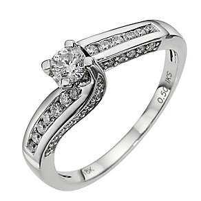 18ct white gold half carat diamond solitaire ring - Product number 8653054
