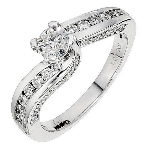 18ct white gold, 1 carat solitaire twist ring