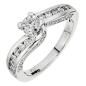 18ct white gold, 1 carat solitaire twist ring - Product number 8653186