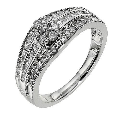 18ct white gold half carat diamond triple bridal ring