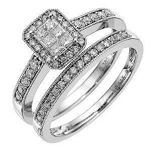 9ct white gold half carat diamond bridal set - Product number 8653577