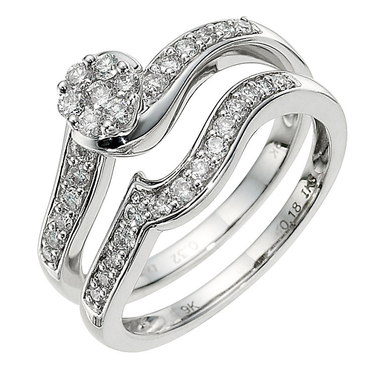 9ct white gold half carat diamond bridal set - Product number 8653704