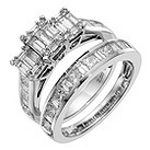 18ct white gold 2 carat diamond bridal set - Product number 8653844