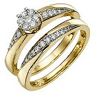 9ct yellow gold 0.30 carat diamond bridal set - Product number 8653976