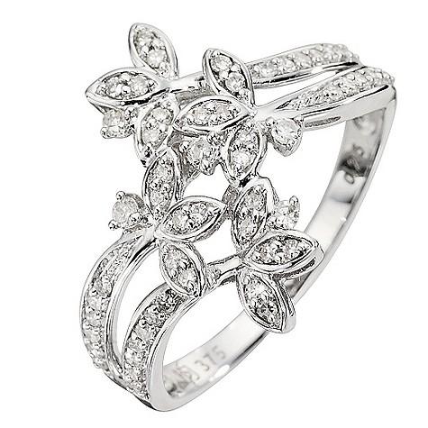 9ct White Gold Quarter Carat Diamond Flower Ring