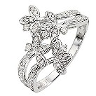 9ct White Gold Quarter Carat Diamond Flower Ring - Product number 8654107