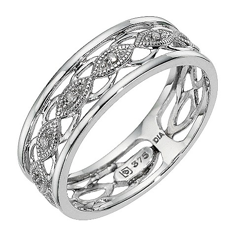 9ct white gold diamond vintage ring