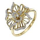 9ct yellow gold diamond flower ring - Product number 8654646