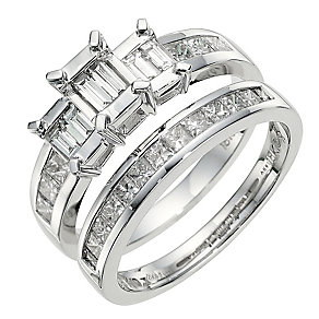 18ct white gold 1 carat diamond bridal set - Product number 8655162