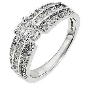 18ct white gold 1 carat diamond solitaire ring - Product number 8655294
