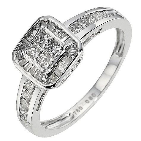 18ct white gold 0.60 carat diamond cluster ring
