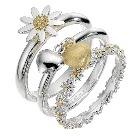 Daisy silver and gold plated stacker rings - size large