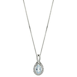 9ct White Gold Diamond Aquamarine Pendant - Product number 8662894