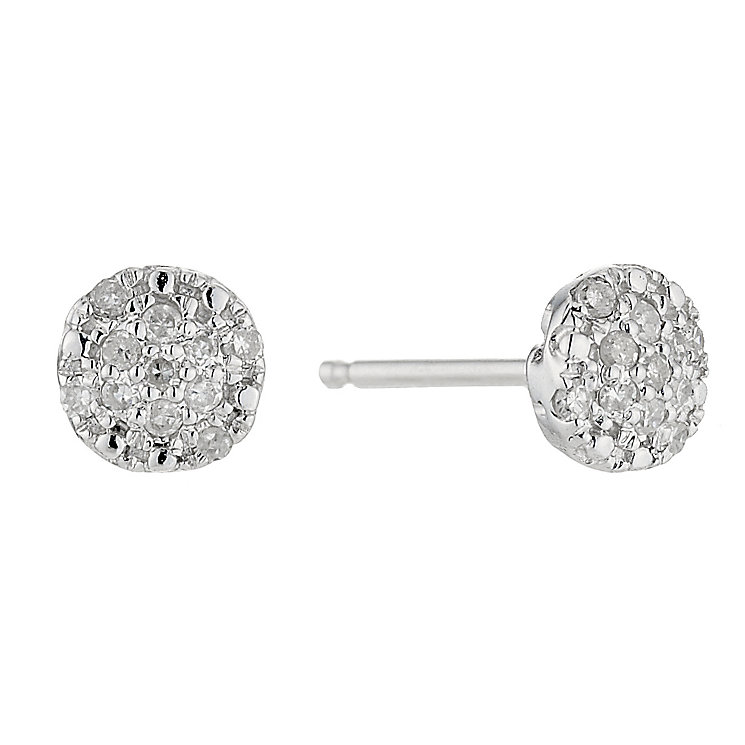 9ct White Gold Diamond Stud Earrings - Product number 8663807