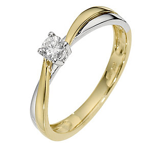 9ct White & Yellow Gold Diamond Solitaire Ring - Product number 8663823