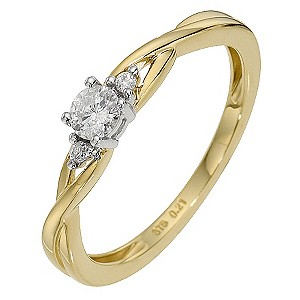 9ct Yellow Gold Fifth Carat Diamond Solitaire Ring