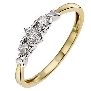 9ct Yellow Gold 1/4 Carat Three Diamond Ring - Product number 8664625