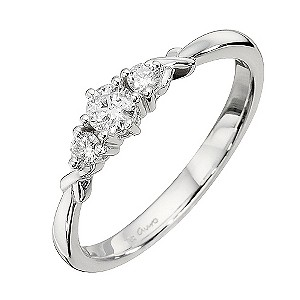 9ct White Gold Quarter Carat Diamond Trilogy Ring