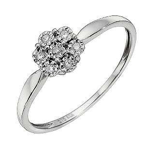 9ct White Gold Diamond Cluster Ring.