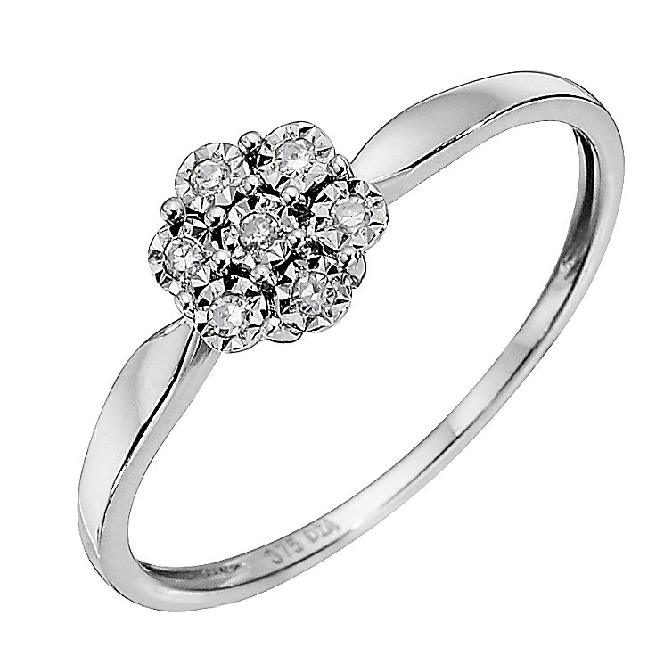 9ct White Gold Diamond Cluster Ring. - Product number 8664897