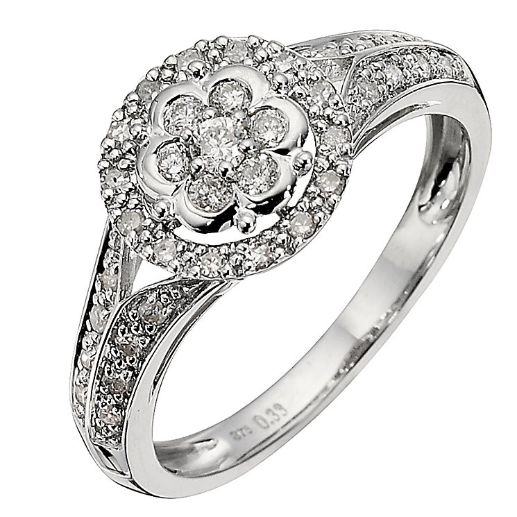 9ct White Gold 1/3 Carat Diamond Flower Cluster Ring - Product number 8665427