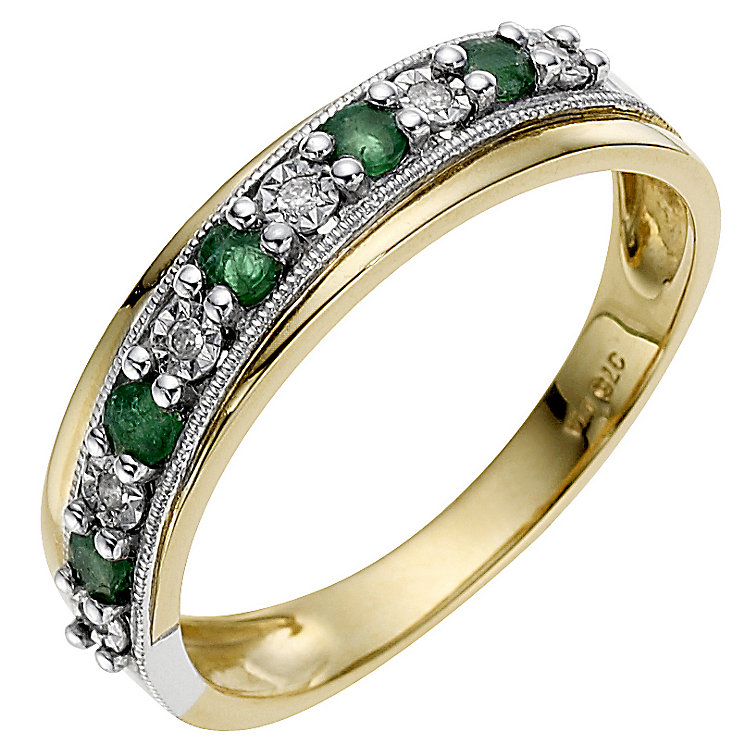9ct Yellow Gold Treated Emerald & Diamond Ring - Product number 8666075