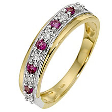 9ct Yellow Gold Ruby & Diamond Ring - Product number 8666202