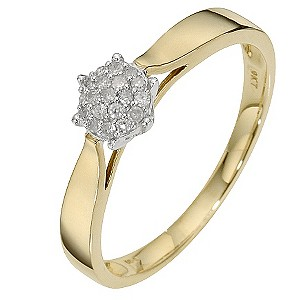9ct Yellow Gold Diamond Cluster Ring - Product number 8666474