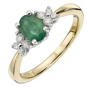 H Samuel 9ct Yellow Gold Emerald and 0.18 Carat Diamond product image