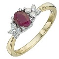9ct Yellow & White Gold Ruby & Diamond Ring - Product number 8668310