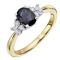 9ct Yellow Gold Sapphire & Diamond Ring - Product number 8668450