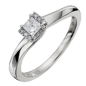9ct White Gold Quarter Carat Diamond Solitaire Ring - Product number 8668582