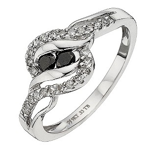 9ct White Gold Third Carat Black