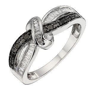 9ct White Gold White & Black Treated Diamond Eternity Ring - Product number 8668973