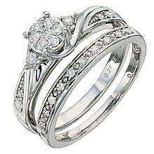 9ct White Gold 0.28 Carat Diamond Bridal Set - Product number 8671419