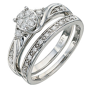 9ct White Gold 0.28 Carat Diamond Bridal Set - Product number 8671419
