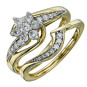 9ct Yellow Gold Half Carat Diamond Bridal Set - Product number 8671818