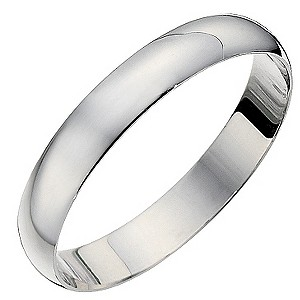 18ct White Gold 3mm D Shape Heavyweight Ring