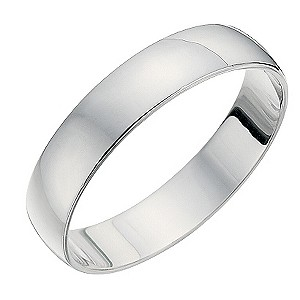 18ct White Gold 4mm D Shape Heavyweight Ring