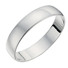 18ct White Gold 4mm D Shape Heavyweight Ring - Product number 8679266