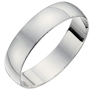 18ct White Gold Heavyweight D Shape Ring