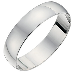 18ct White Gold Heavyweight D Shape Ring - Product number 8679509