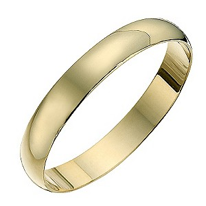 9ct yellow gold D shape 3mm heavy wedding ring