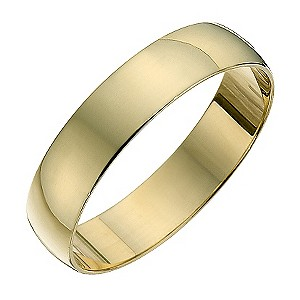 Ladies' 9ct yellow gold D shape 4mm heavy wedding ring