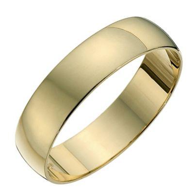 9ct Yellow Gold 5mm Heavy D Shape Ring HSamuel