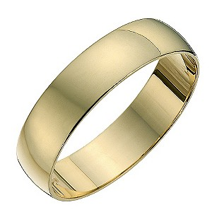 9ct yellow gold D shape 5mm heavy wedding ring